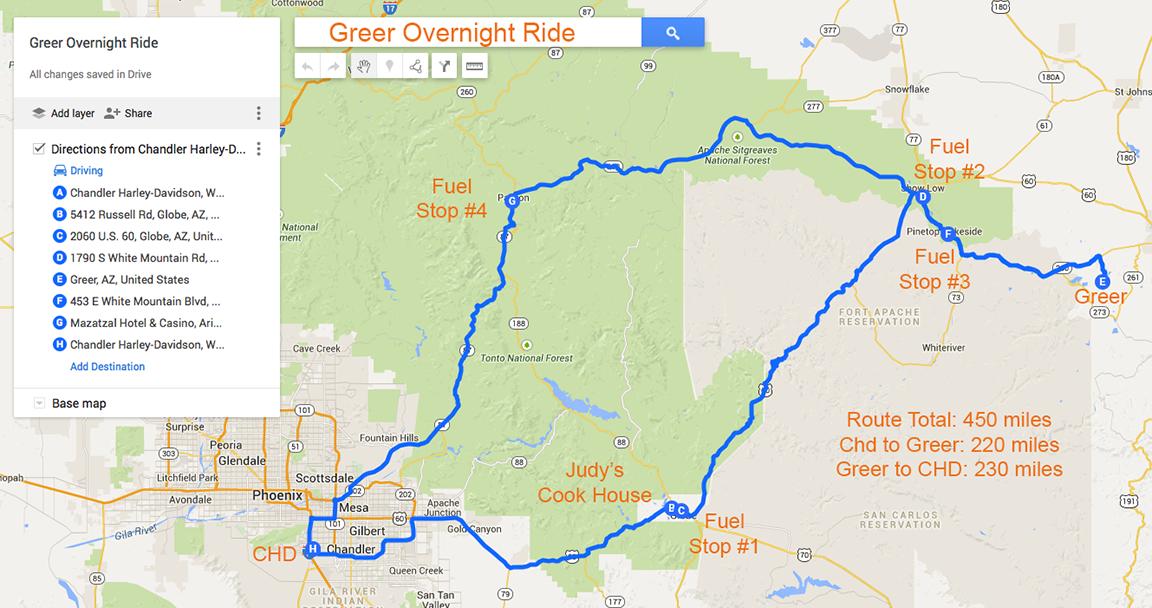 Riding Maps Foothills HOG Chandler Arizona - Us hog rallies 2017 map